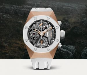 The 44 mm fake Audemars Piguet Royal Oak Concept 26223RO.OO.D010CA.01 watches have 18k rose gold cases, white ceramic bezels and white rubber straps.