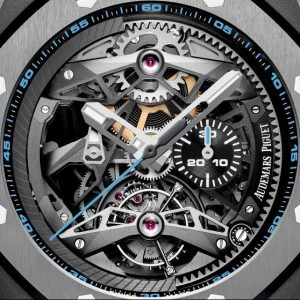 The 44 mm copy Audemars Piguet Royal Oak Concept 26587TI.OO.D031CA.01 watches have skeleton dials.
