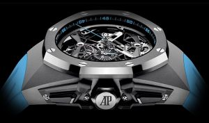 The sturdy fake Audemars Piguet Royal Oak Concept 26587TI.OO.D031CA.01 watches are made from titanium.
