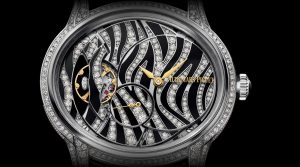 The 39.5 mm copy Audemars Piguet Millenary 77249BC.ZZ.A102CR.01 watches have off-central dials with tourbillons.