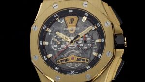The 44 mm copy Audemars Piguet Royal Oak Offshore 26407BA.OO.A002CA.01 watches have skeleton dials.