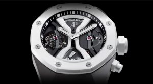 The sturdy copy Audemars Piguet Royal Oak Concept 26580IO.OO.D010CA.01 watches have titanium cases and white ceramic bezels and crowns.
