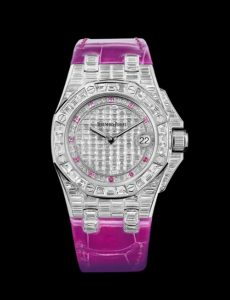 The luxury copy Audemars Piguet Royal Oak Offshore 67543BC.ZZ.DXXXCR.01 watches are decorated with diamonds.