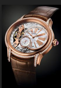 The luxury copy Audemars Piguet Millenary 77247OR.ZZ.A812CR.01 watches are made from 18k rose gold and decorated with diamonds.