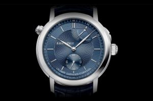 The blue leather strap copyAudemars Piguet Jules Audemars 26344PT.OO.D028CR.02 watch has blue dial.