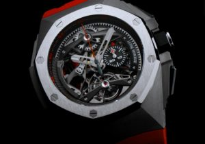 The 44 mm fake Audemars Piguet Royal Oak Concept 26587TI.OO.D067CA.01 watches have skeleton dials.