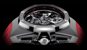 The sturdy copy Audemars Piguet Royal Oak Concept 26587TI.OO.D067CA.01 watches are made from titanium.
