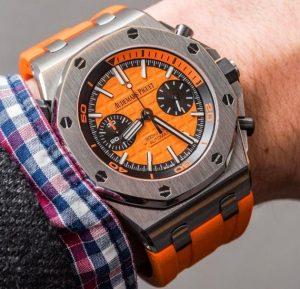 The orange dials copy Audemars Piguet Royal Oak Offshore 26703ST.OO.A070CA.01 watches have orange dials.