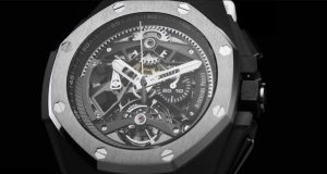 The 44 mm fake Audemars Piguet Royal Oak Concept 26587TI.OO.D010CA.01 watches have skeleton dials.