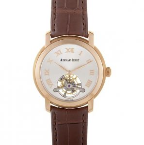 The 18k rose gold copy watches have brown leather straps.