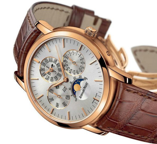 The rose gold copy watches have silvery dials.