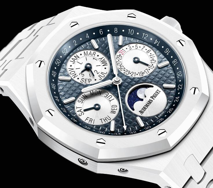 The timepiece features a distinctive blue dial which is adorned with the symbolic pattern.