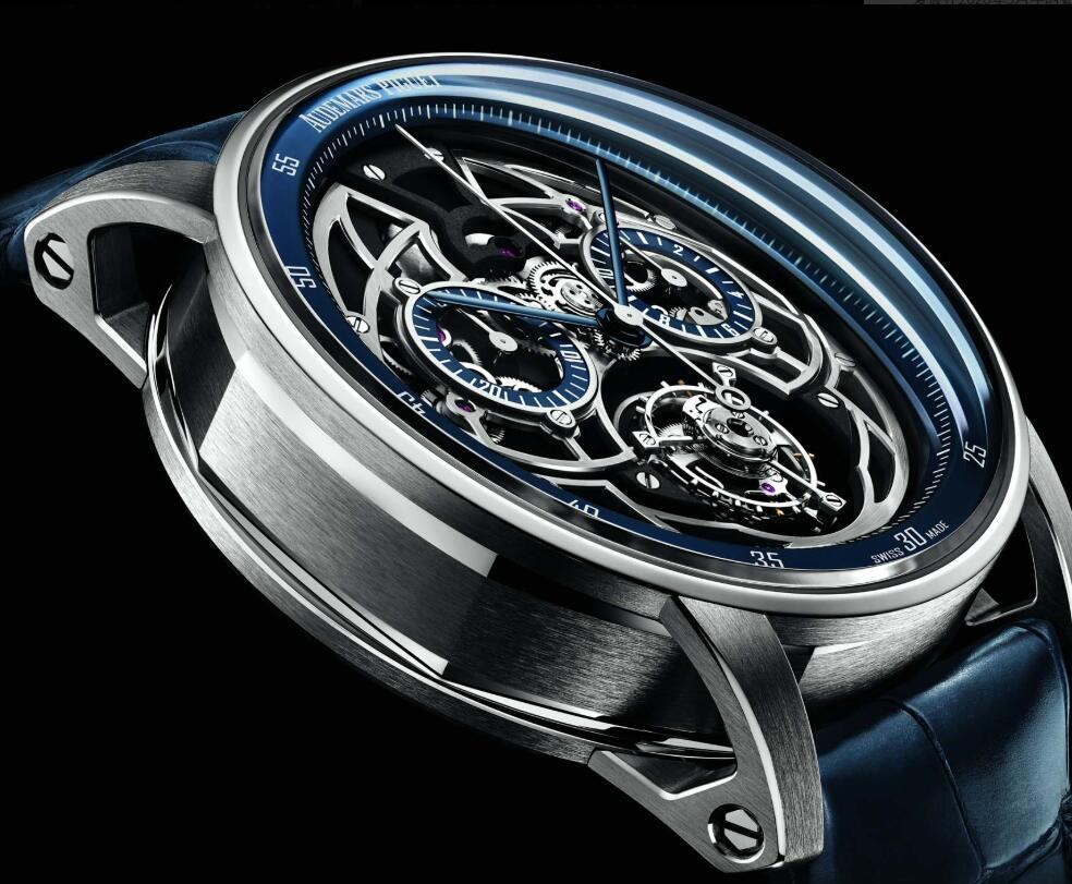 The blue hands are striking on the skeleton dial of copy Audemars Piguet.